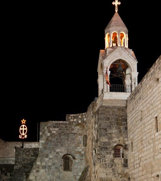 Bethlehem church at night on Holy Land pilgrimage